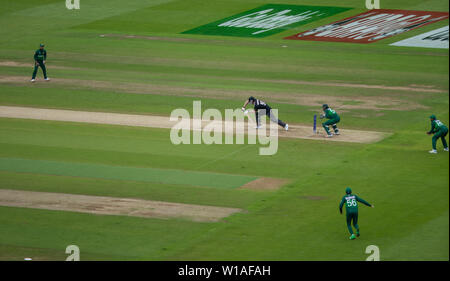28th June 2019 - New Zealand batsman executing a perfect forward defence during their 2019 ICC Cricket World Cup game against Pakistan at Edgbaston - Stock Photo