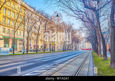 VIENNA, AUSTRIA - FEBRUARY 18, 2019: The  Ringstrasse with its pedestrian alleys is one of the best walking places with great view on magnificent Vien - Stock Photo