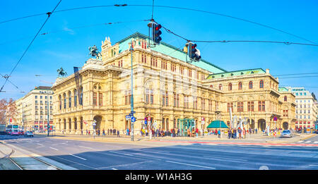 VIENNA, AUSTRIA - FEBRUARY 18, 2019: Wiener Staatsoper, the Opera building is one of the most notable landmarks in the city, located next to busy Ring - Stock Photo
