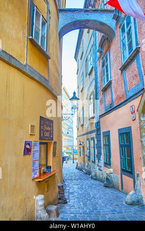 VIENNA, AUSTRIA - FEBRUARY 18, 2019: The famous Fenster cafe is one of the most hidden landmarks and located in old and tiny Griechengasse street, on - Stock Photo