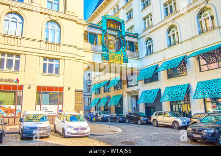 VIENNA, AUSTRIA - FEBRUARY 18, 2019: The beautiful Art-Nouveau style Anker Clock with moving figures and playing music, located on the bridge between - Stock Photo