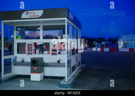Gas station, A7 Highway, Central France - Stock Photo