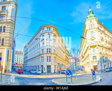 VIENNA, AUSTRIA - FEBRUARY 18, 2019: Panoramic view on beautiful Art Nouveau style residential buildings in historical part of the city, on February 1 - Stock Photo