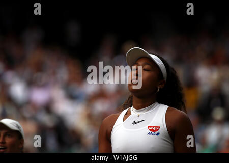 Wimbledon, UK  1 July 2019 - Number 2 seed Naomi Osaka of