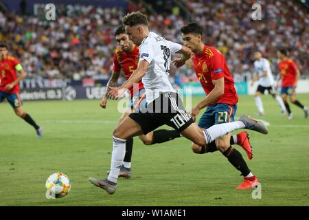 Udine, Italien. 30th June, 2019. firo: 30.06.2019, Football, International, UEFA U21 European Championship 2019, Final, Germany - Spain, Luca Waldschmidt, Germany, Germany, DFB, GER, full figure, | usage worldwide Credit: dpa/Alamy Live News - Stock Photo