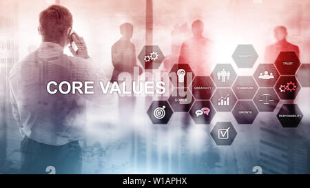 Core values concept on virtual screen. Business and finance solutions - Stock Photo