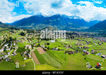 South Tyrol vineyards aerial panoramic view near Meran or Merano town in northern Italy - Stock Photo