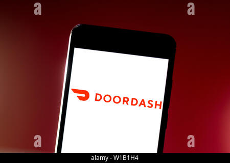 Brazil. 10th June, 2019. In this photo illustration the DoorDash logo is seen displayed on a smartphone. Credit: Rafael Henrique/SOPA Images/ZUMA Wire/Alamy Live News - Stock Photo