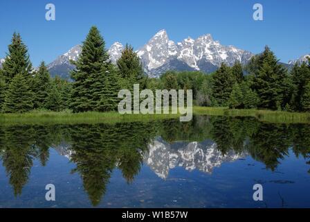 Beautiful Teton Range from Schwabacher's Landing in Grand Teton National Park in July - Stock Photo