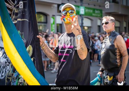 Berlin, Germany - June 9, 2019: Participant on the Carnival of Cultures Parade Karneval der Kulturen Umzug - a multicultural music festival in Kreuzbe - Stock Photo