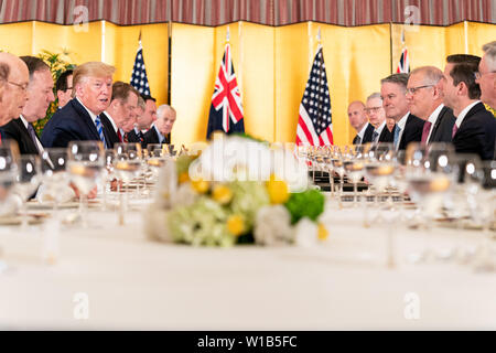Osaka, United States Of America. 27th June, 2019. President Donald J. Trump, joined by members of the United States Delegation, meets with the Australian Prime Minister Scott Morrison at a working dinner at the Imperial Hotel Osaka Thursday, June 27, 2019, Osaka, Japan. People: President Donald Trump Credit: Storms Media Group/Alamy Live News - Stock Photo