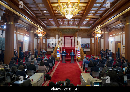Seoul, South Korea. 30th June, 2019. President Donald J. Trump and Republic of South Korea President Moon Jae-in participate in a press conference Sunday, June 30, 2019, at Blue House in Seoul. People: President Donald Trump Credit: Storms Media Group/Alamy Live News - Stock Photo