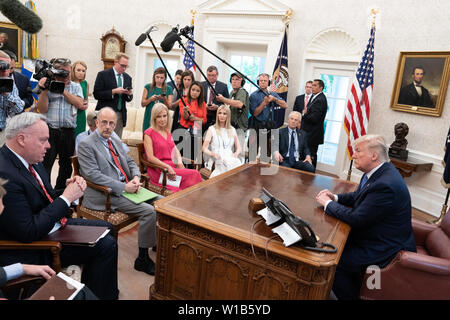 Washington, United States Of America. 25th June, 2019. President Donald J. Trump participates in a fentanyl epidemic update meeting Tuesday, June 25, 2019, in the Oval Office of the White House People: President Donald Trump Credit: Storms Media Group/Alamy Live News - Stock Photo