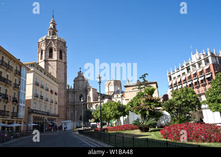 Panoramic of the entrance of the Irons of the Cathedral of Valencia seen from the Plaza de la Reina - Stock Photo