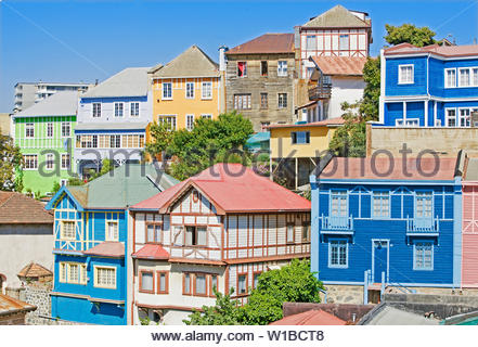 Traditional colorful houses, Valparaiso, UNESCO World Heritage Site, Chile, South America - Stock Photo