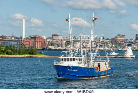 New Bedford, Massachusetts, USA - July 1, 2019: Commercial fishing vessel Jean Marie leaving New Bedford - Stock Photo