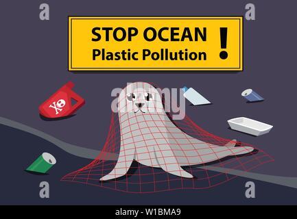 Sad seal stuck plastic net at sea pollution vector art - Stock Photo
