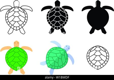 Set of turtle icons and sign in vector art design - Stock Photo