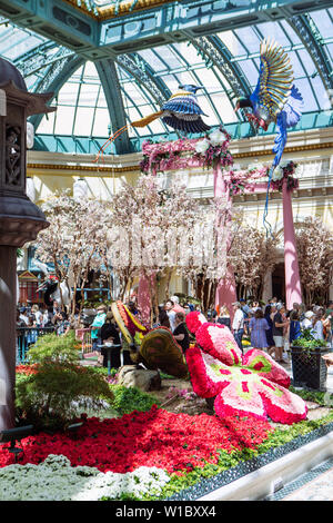 Bellagio Hotel and Casino Conservatory & Botanical Gardens at Japanese Spring in Las Vegas, Nevada, USA - Stock Photo