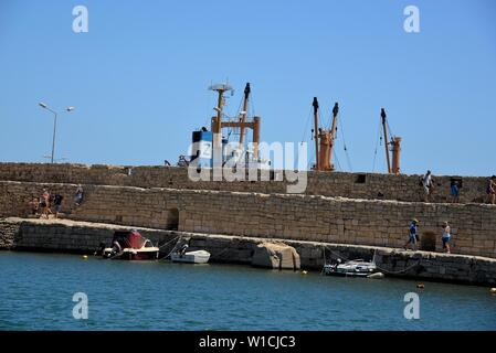 Part of the pier in the old port of Rethimnon, Crete, Greece. - Stock Photo