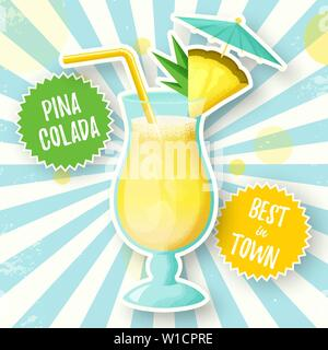 Banner with Pina Colada cocktail. Vector illustration. Glass of alcoholic drink with pineapple slice, straw and umbrella on retro burst background. - Stock Photo