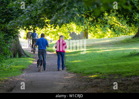Northampton UK. 2nd July 2019. Weather. Abington Park. Dog walkers out in the cool morning air before the heat of the day, as it is forecast to get hot later on. Credit: Keith J Smith./Alamy Live News - Stock Photo