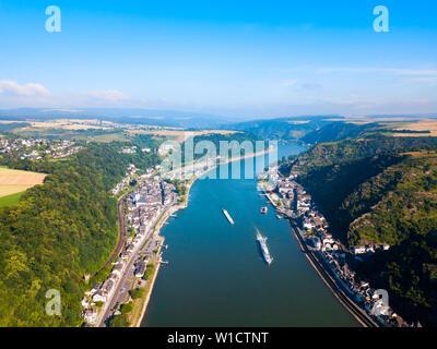 Lorelei mountain viewpoint near the St. Goarshausen town in Rhineland-Palatinate region, German - Stock Photo