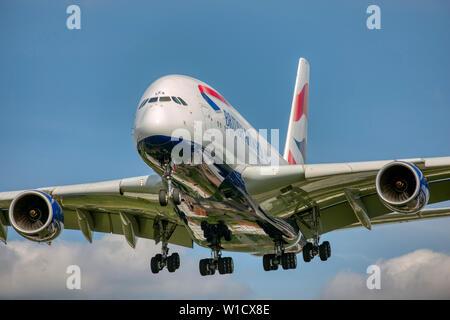 G-XLEA British Airways Airbus A380-800 arriving at London Heathrow Airport. - Stock Photo