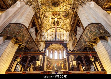 BERGAMO, ITALY - APRIL 11, 2019: Santa Maria Maggiore Basilica interior. The Basilica of Santa Maria Maggiore is a major church in the upper town of B - Stock Photo