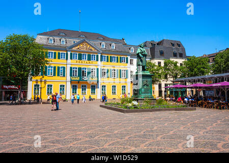 BONN, GERMANY - JUNE 29, 2018: Ludwig van Beethoven monument and post office in the centre of Bonn city in Germany