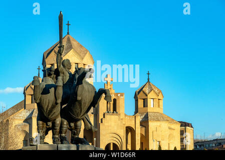 Monument to General Zoravar Andranik and St. Gregory the Illuminator Cathedral, Yerevan, Armenia - Stock Photo