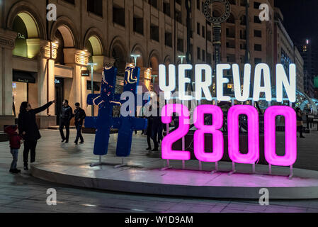 erevan 2800 monument on the Yerevan downtown, Armenia - Stock Photo