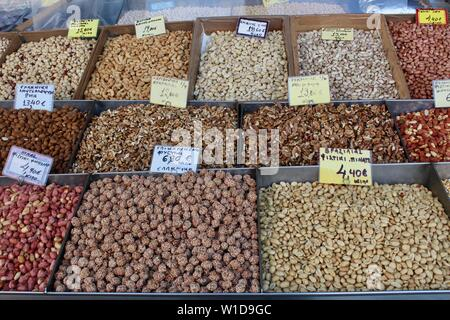 Central Municipal Athens Market mixed nut stall greece - Stock Photo