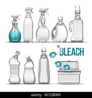Plastic Bottle For Bleach Detergent Set Vector - Stock Photo