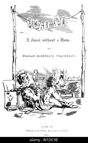 WILLIAM MAKEPEACE THACKERAY (1811-1863) British novelist. Title page of Vanity Fair drawn by the author. - Stock Photo
