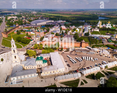 Aerial view of modern cityscape of Kolomna overlooking ancient Kremlin and Speed Skating Center, Russia - Stock Photo