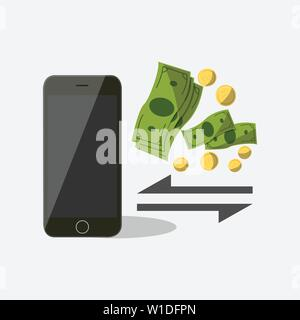 Mobile payment set isolated vector illustration. POS terminal confirm, NFC payment, money transferring via smartphone app, online banking and shopping - Stock Photo