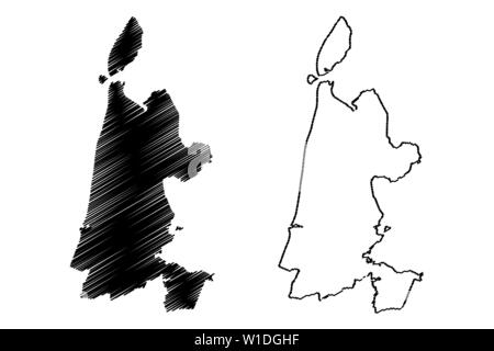 North Holland province (Kingdom of the Netherlands, Holland) map vector illustration, scribble sketch North Holland map - Stock Photo