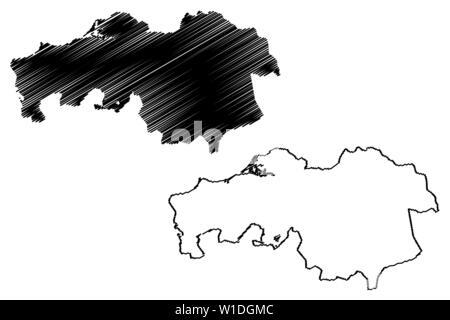 North Brabant province (Kingdom of the Netherlands, Holland) map vector illustration, scribble sketch Brabant map - Stock Photo