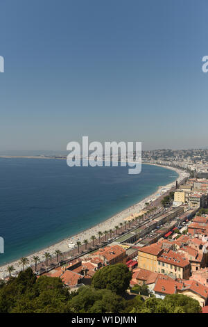 View of the beach and promenade of Nice, France - Stock Photo