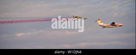 Minsk, Belarus - July 1, 2019 Flight of aircraft over the city, a group of fighters in the sky on - Stock Photo