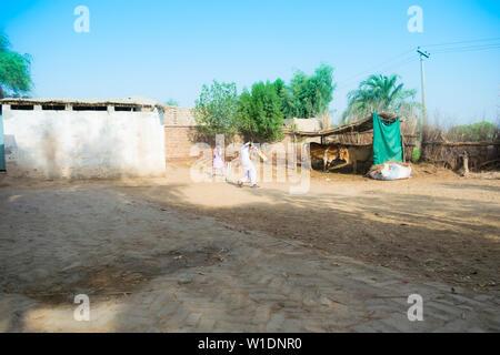 rahimyar khan,punjab,pakistan-july 1,2019:some local boys playing cricket in a village,batsman leaving a bounser. - Stock Photo