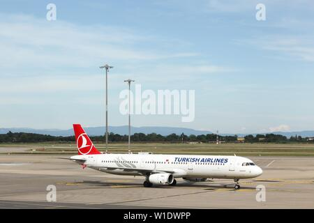 Lyon, France - June 23, 2019: Turkish airlines aircraft at Saint Exupery airport. Turkish airlines is the national flag carrier airline of Turkey - Stock Photo