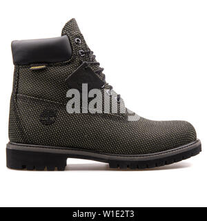 VIENNA, AUSTRIA - AUGUST 25, 2017: Timberland 6in Fabric boot on white background. - Stock Photo
