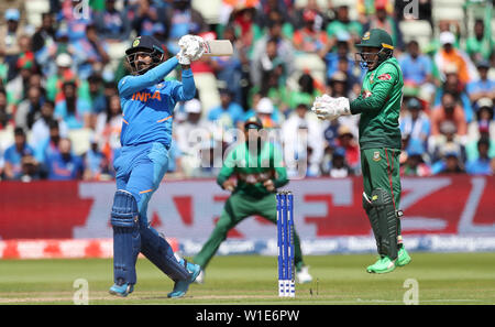 India's KL Rahul bats during the ICC Cricket World Cup group stage match at Edgbaston, Birmingham. - Stock Photo