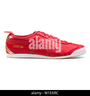 VIENNA, AUSTRIA - AUGUST 25, 2017: Onitsuka Tiger Mexico 66 red sneaker on white background. - Stock Photo