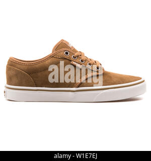 VIENNA, AUSTRIA - AUGUST 25, 2017: Vans Atwood brown sneaker on white background. - Stock Photo