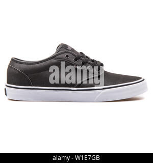 VIENNA, AUSTRIA - AUGUST 25, 2017: Vans Atwood black sneaker on white background. - Stock Photo