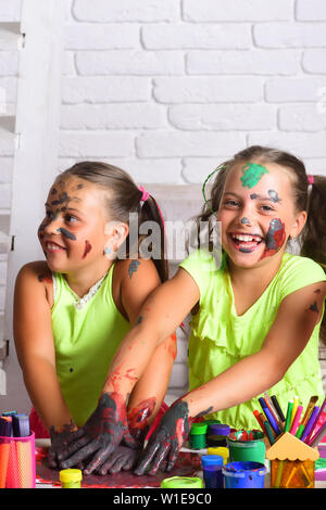 Imagination Creativity And Freedom Concept Body Art And Painting Girls Drawing On Face Skin With Paints Children Artists With Painted Hands Kids Stock Photo Alamy