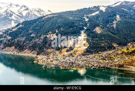 Zell am See. View on Zellersee (Zeller) lake with alps, near Kaprun. Zillertal. Austria, Salzburger land, nearby Tyrol, Tirol - Stock Photo